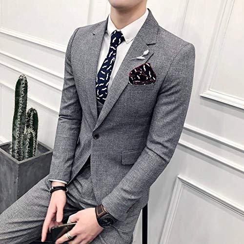 GFRBJK Homme Slim Fashion Einfarbig Anzug Kostüm Hommes Du Mariages Trois Pieces , Grau , - Kostüm Homme Slim