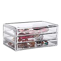 LANSCOERY Acrylic Cosmetic Organizer Jewelry Storage Case Makeup Display Box 3 Drawers with Mat for Bathroom, Dresser, Vanity and Countertop