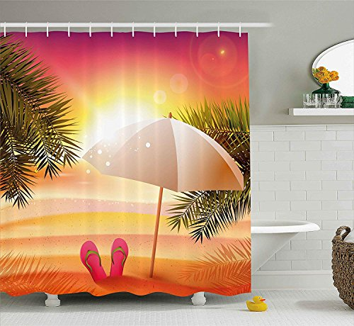 TAMMY CHAPPELL Orange Shower Curtain, Sunset at The Beach with Flip Flops Umbrella and Palm Trees Illustration, Fabric Bathroom Decor Set with Hooks, 70 inches, Orange and Yellow