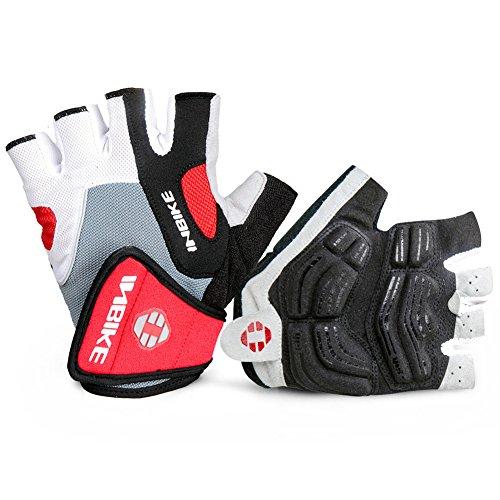 Inbike - guanti mtb da ciclismo estivi senza dita bicicletta bici gloves da uomo (rosso,l)