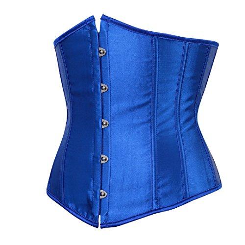 Damen Vintage Satin Korsett Corsage Unterbust Taillen Korsagen Bustier Top Korsett Dessous Blau