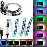 Bande LED USB Rétroéclairage TV,Makion 100cm / 3.28ft multi-couleurs 30leds flexible 5050 USB RGB LED bande de lumière avec le câble USB 5v et Mini Controller pour TV / PC / ordinateur portable Rétro-éclairage