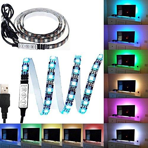 Surom PCB-TV-Hintergrundbeleuchtung, LED-Lichter, mehrfarbiger LED-Streifen mit 30 LEDs, Flexibel, 5050RGB-USB-LED-Lichtleiste mit 5V-USB-Kabel Und Mini-Steuerung, für TV/PC/Laptop, Hintergrundbeleuchtung, 1 m lang