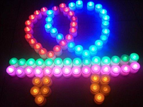 Sin llama velas, velas de té LED con pilas velas de boda decoración para fiestas eventos Tealight velas rojo–24unidades