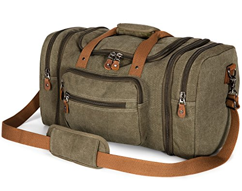 Plambag Borsone da Viaggio per Sport di tela e pelle Borsa Weekend Bag Uomo/Donna Vintage Army Green