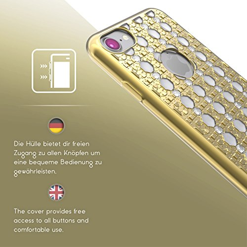 Urcover® Apple iPhone 7 Hülle mit Oriental Muster in Rose Gold / Weiß | Silikon Backcase Schutz-hülle | flexibel weich TPU | Diamanten Diamonds Case stylisches Cover Smartphone Zubehör Gold / Weiß