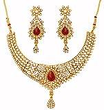 Prüfstein indischen Bollywood Traditionelle und Pretty White Strass Candy Red Faux Ruby Grand Braut Designer Schmuck Halskette Set für Frauen in Antik Gold Tone