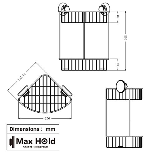 MaxHold Suction Cup Double / Two Tier Corner Shower Basket - Stainless Steel Never Rust - for Bathroom amp; Kitchen