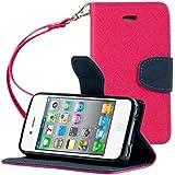 kwmobile Hülle für Apple iPhone 4 / 4S - Wallet Case Handy Schutzhülle Kunstleder - Handycover Klapphülle mit Kartenfach und Ständer Zwei Farben Klappe Design Pink Schwarz