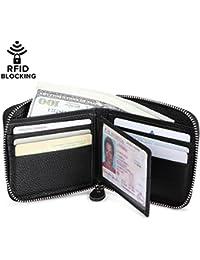 Huztencor Zipper Wallet Men Rfid Blocking Leather Zip Around Wallet Id Card Window Secure Zipper Bifold Wallets...