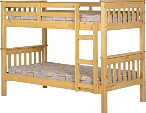 Seconique Neptune 3' Single Bunk Bed, Oak Finish