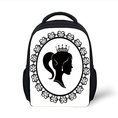 Kids School Backpack Queen,Profile Silhouette Princess in Frame Victorian Details Young Noble Woman,Black White Plain Bookbag Travel Daypack