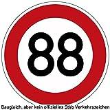 80-89 (km/h) Verkehrszeichen als Geburtstagsschild 60 cm Durchmesser, Aluminium Reflektierend (88)