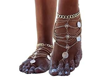Zhenhui Frauen Fußkettchen 2 Stücke - Das Lieblings-Accessoires im Sommer: Fußketten sind wieder voll im Trend! (gold)