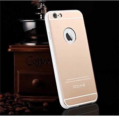Oceanhome NEW Luxury Aluminum Ultra dünne Spiegel Metallkasten Abdeckung Aluminiummetallgehäusebeschichtung Auto Frame für Apple iPhone 6 6s Hülle Telefon Beutel mit Rot +1 HD Schutz schirm Series4-Gold