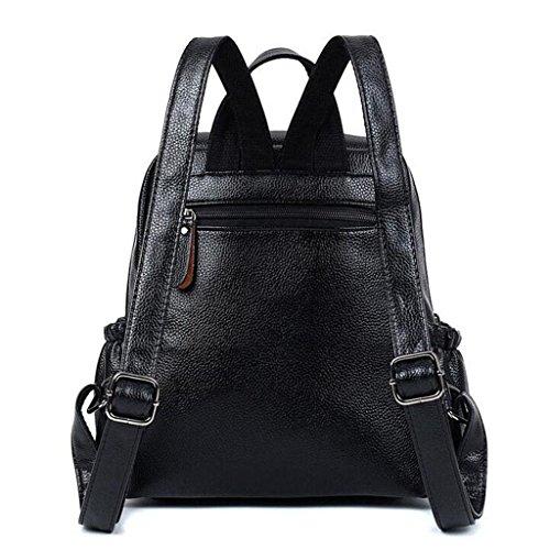 Y&F Hohe KapazitäT Leder Reiserucksack Schultertaschen Handtasche 26 * 30 * 15 Cm Black