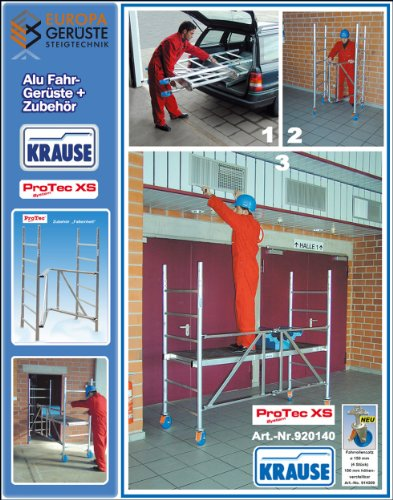 Krause ProTec 2.0 XS Alu Falt-/Klappgerüst AH 3.8 mit Fahrrollen Ø 150 mm 920157