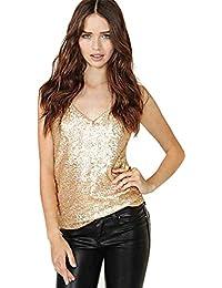 JOTHIN Damen Shimmer Pailletten Verziert Sparkle Trägershirt-Weste V-Ausschnitt  Tops 00878f46f9