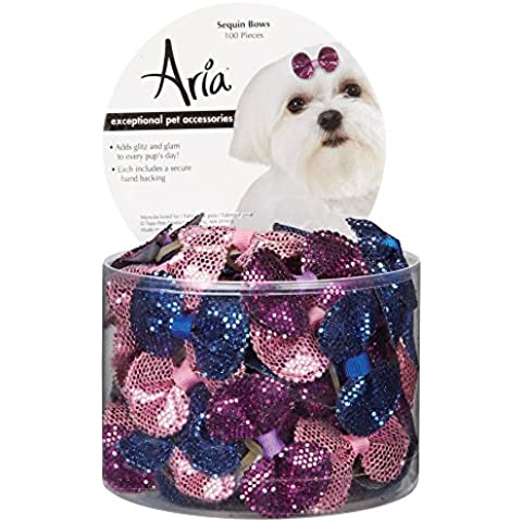 Aria Sequin Bows for Dogs, 100-Piece Canisters by Aria - Dog Grooming Ribbon