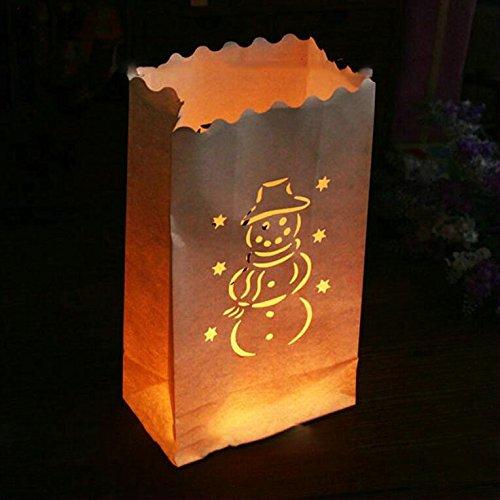 Fascola 20x Schneemann Halterung Lichtertüte Luminaria Papier Laterne Kerze Tasche für BBQ Weihnachten Party Home Outdoor Hochzeit Dekoration