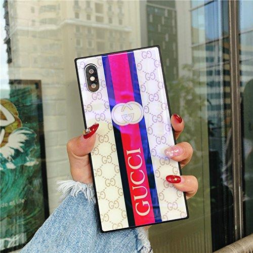 Schutzhülle für iPhone 6S/6 Plus, elegant, luxuriös, modisches Design, Monogramm, gehärtetes Glas, Rückseite weich, stoßdämpfend, Kratzfest