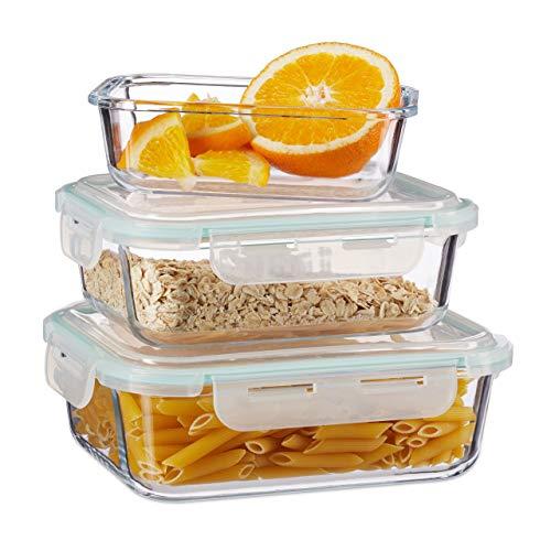 Relaxdays Frischhaltedosen 3er Set Glas, Vorratsdosenset, BPA-Frei, hitzebeständig, Frischhaltebox, Clip-Deckel, klar, Borosilikatglas, Plastik, Standard