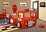 Wohnideebilder Kinderzimmerbett, Kinderbett FEUERWEHR/FIRETRUCK single in der Farbe rot inkl. Matratze und Lattenrost in der Größe 90x190 unschädlich lackiert, NEU.