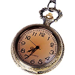Pocket Watch Open Face Quartz Movement Bronze Tone Case Arabic Numerals with Chain Half Hunter Antique Design PW-29
