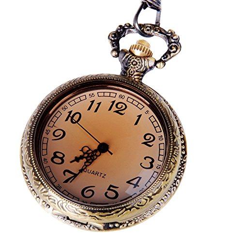 pocket-watch-open-face-quartz-movement-bronze-tone-case-arabic-numerals-with-chain-half-hunter-antiq