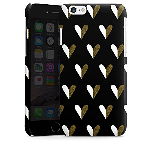 Apple iPhone 5 Housse Étui Silicone Coque Protection C½urs Or Motif Cas Premium brillant