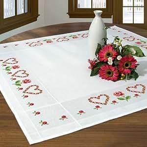Kit de broderie avec nappe en coton Motif roses et cœurs à broder au point de croix 90 x 90cm