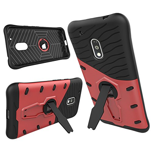 Moto G4 Play Case, 2 In 1 Neue Armor Tough Style Hybrid Dual Layer Rüstung Defender PC Hartschalen mit Standplatz Shockproof Case ​​Für Moto G4 Spielen ( Color : Silver , Size : Moto G4 Play ) Red