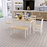 WEIBO Solid Wood Pine Dining Table and 4 Chairs and Bench Solid Wood Dinette Set in Natural Pine and White