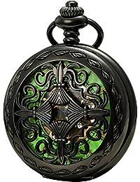 SEWOR Vintage mecánica mano viento reloj de bolsillo Luminosa Esfera lupa de cristal (Esqueleto negro)