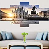 QRTQ Hohe Qualität Leinwanddruck 5 Panel 200 x 100 cm Mailänder Dom, Italien Leinwand Malerei Wandkunst Dekorative Bilder Für Wohnzimmer Schlafzimmer Druckt(Kein Rahmen)