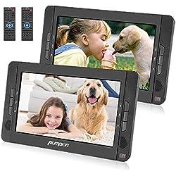 PUMPKIN Lecteur DVD Portable Voiture Double Ecran d'appuie-tête pour Enfant 10,1 Pouce (Deux Lecteurs) supporte USB SD MMC Autonomie de 5 Heures avec Sangle de Fixation dans Voiture