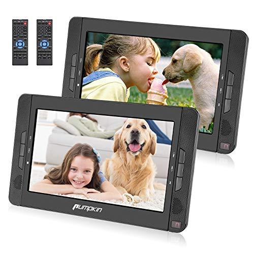 "2 Reproductores de DVD - 10.1 "" Reproductor Portátil para el Coche, Soporta Tarjeta SD/USB/CD/DVD/MP3/JPEG, 5 Horas Batería Recargable, con Mando a Distancia, Color Negro"