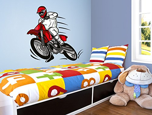 """Preisvergleich Produktbild I-love-Wandtattoo WAS-10407 Kinderzimmer Wandsticker """"Rasanter Motocross Fahrer mit Helm in roten Farben"""" zum Kleben Wandtattoo Wandaufkleber Sticker Wanddeko"""
