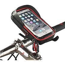 Universal resistente al agua Soporte para bicicleta soporte para teléfono para cuadro de bicicleta bolsa Ciclismo bicicleta manillar teléfono bolsa 360grados de rotación para smartphones GPS y otros dispositivos compatibles para Apple, Samsung, Google, Huawei, LG, Motorola, Android Smartphone, rojo