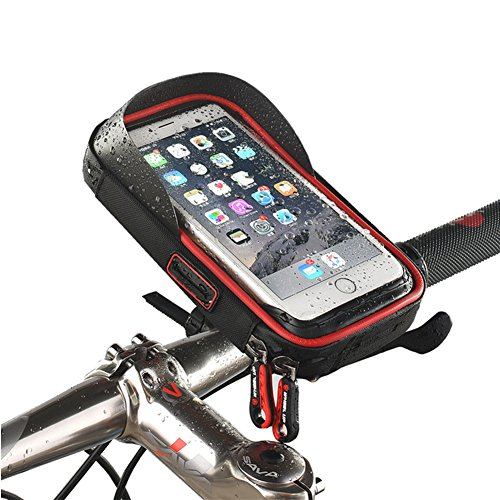 Universal wasserdichte Fahrradhalterung Telefonhalter Fahrradrahmen Tasche Fahrrad Fahrrad Handy Lenker Tasche Tasche 360 Grad drehbar für Smartphones GPS und andere kompatible Geräte für Apple, Samsung, Google, Huawei, LG, Motorola, Android Smartphone (Rote)