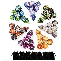 Dados Dungeons and Dragons, 7 Set 49 Pcs Colores Surtidos Acrílico Número Poliédrico Juego Dados 7 Estilo D4 D6 D8 2d10 D12 D20 con Bolsas