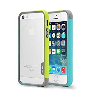 Aavjo® Newest Arrive Walnutt Tri Colour Hybrid Soft Bumper Case For Apple iPhone 5c - Mint Green + Lemon Green - Free Cable Protector