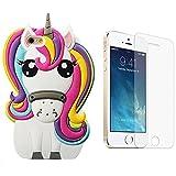 Mulafnxal 3D Unicorn Coque pour iPhone SE/5/5S/5C,Housses de téléphone,TPU Silicone Etui,Mignon 3D Cartoon Dessin Animé Animaux Licorne Souple Fille,Cute Kids Girls Case pour iPhone5+Verre Trempé