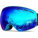 ZIONOR 10 Colors Lagopus Snowmobile Snowboard Skate Ski Goggles with Detachable Lens and Wide Angle Double Lens Anti-fog Big Spherical Professional Unisex Multicolor Lagopus3100(Blue)¡