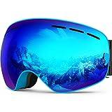 ZIONOR Lagopus X Motos de Nieve Snowboard Skate Gafas de esquí con Desmontable Lens y Lente Gran Angular Antiniebla Gran Esférico Profesional Unisex Multicolor (Azul)