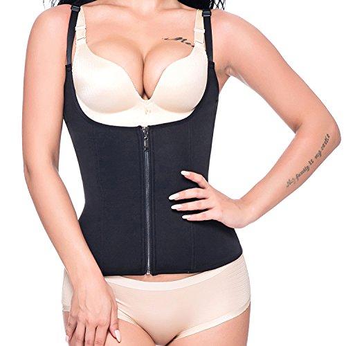 MISS MOLY Damen Figurformender mit verstelbaren Trägern Shapewear mit Haken und Reißverschluss Taille cincher für Gewichtverlust Schwarz