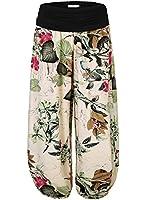 BAISHENGGT - Femme Pantalon bouffant large bande stretch a la taille floral imprime Taille haute
