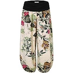 BAISHENGGT Mujer Pantalones Harem con Cintura Elástica Albaricoque-Floral Large