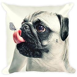 Carlino con mariposa en lengua Cojín 45x 45cm, diseño perro, perros, divertido, funda de cojín, almohada, regalo, ideal para regalar, sofá, sofá cojín, suave, muy suave, grande, 45x 45cm