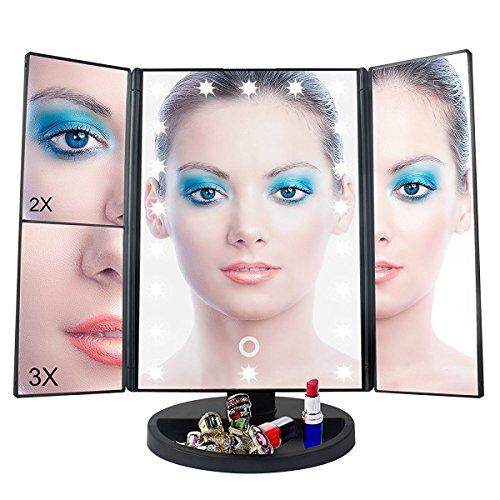 Make-up-Spiegel Tischspiegel mit 22 LED-Leuchtmittel 1X 2X 3X Vergrößerungsspiegel Kosmetikspiegel Schminkspiegel für Arbeitsplatte Bewegliche Kabellose Stromversorgung durch Akku oder USB-Aufladung